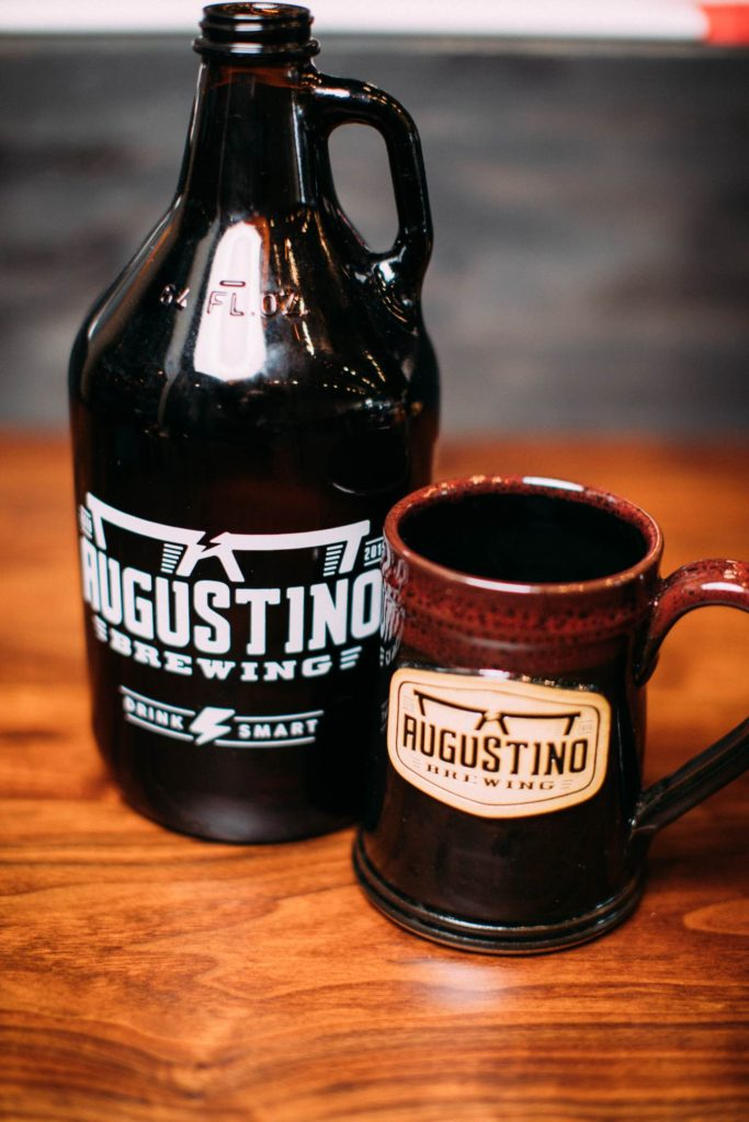 Augustino Brewing Growler and Stoneware Member's Mug