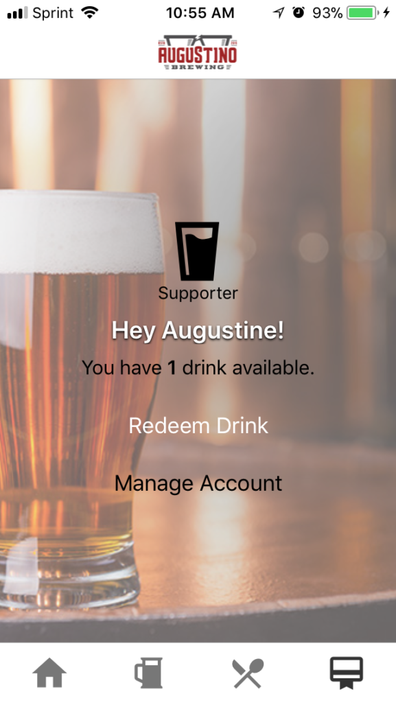 Augustino Brewing Ultimate Mug Club Drink Redemption Available