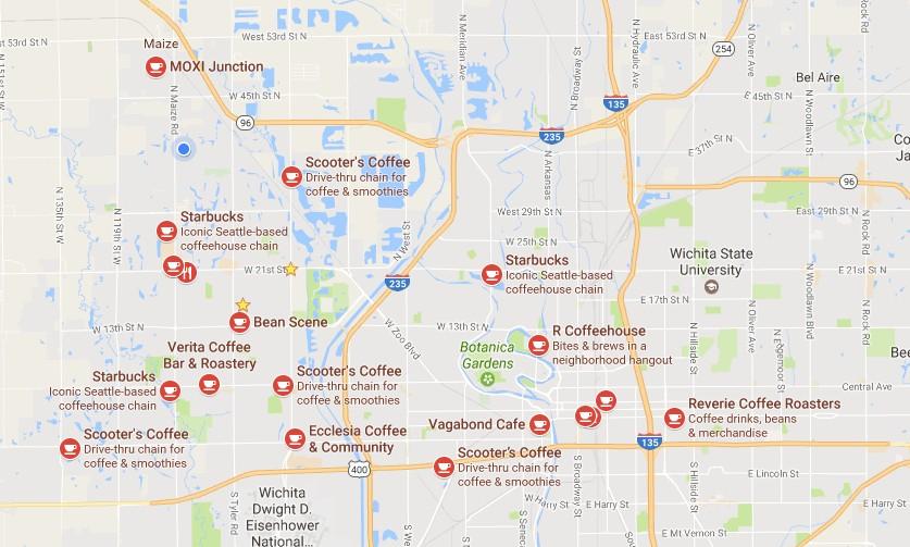 Coffee Shop Map Wichita Kansas Augustino Brewing